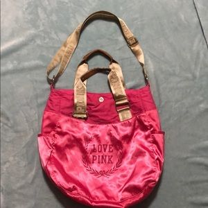 Victoria's Secret pink satin laptop shoulder bag